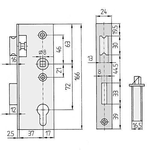 Ersatz-Metalltorschloss mit Stulpe 24x166 mm f/ür 30mm Schlossk/ästen Dornma/ß 40
