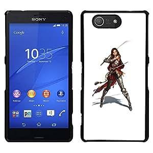 // PHONE CASE GIFT // Duro Estuche protector PC Cáscara Plástico Carcasa Funda Hard Protective Case for Sony Xperia Z3 Compact / Samurai Warrior Swordsman Woman /