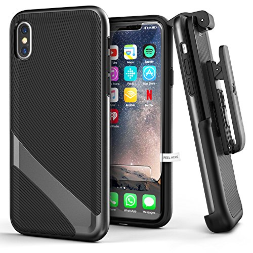 Encased Thin Fit iPhone X/iPhone Xs Belt Case Holster Clip (w/Screen Protector) Slim Dual Layer TPU Bumper Cover - Black/Silver