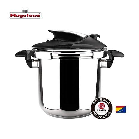 MAGEFESA NOVA Olla a presión super rápida, fácil uso, acero inoxidable 18/10, apta para todo tipo de cocinas, incluido inducción. Fondo termodifusor, ...