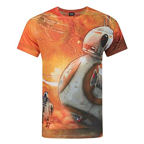 Star Wars Mens Force Awakens BB-8 Sublimation T-Shirt (L) (Orange)