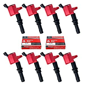 Set of 8 Motorcraft SP515 SP546 Spark Plugs & 8 Red Straight Boot Ignition Coils DG511 for Ford Lincoln Mercury V8 V10 4.6l 5.4l 6.8l Compatible with 3L3E12A366CA 5C1584 C1541 FD-508 DG511 RED DG-511