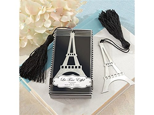 Office Paris France Eiffel Tower Bookmark Tassel Box Party Favor Office Supply (Silver) Stationery
