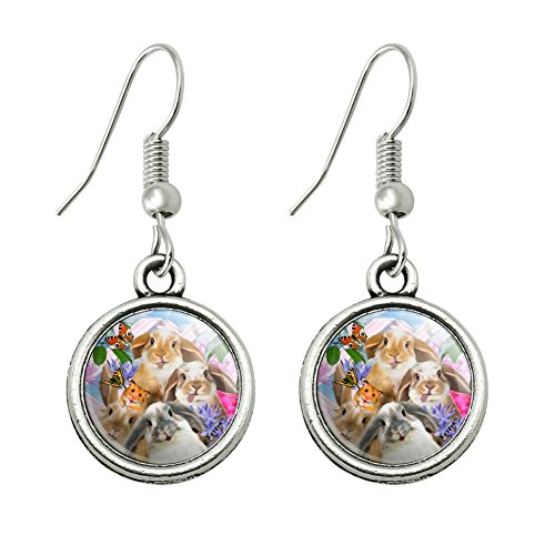 Graphics and More Rabbits Bunnies Hampster Backyard Flower Selfie Novelty Dangling Drop Charm -