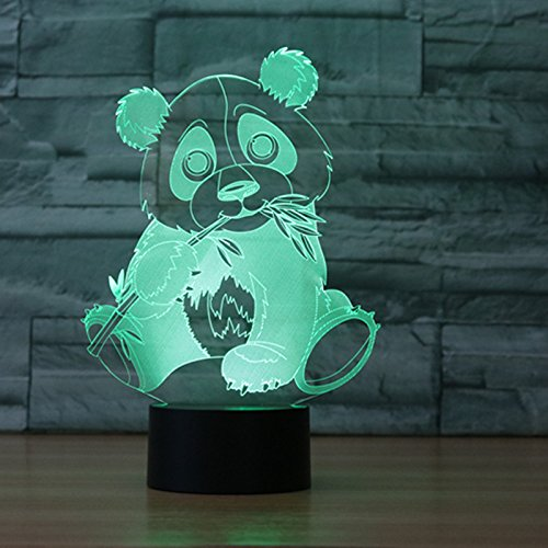 3D Lamp LED night light Panda Bamboo leaf Touch 7 Color Change Table Lamp Xmas Toy (Bamboo 4 Light)