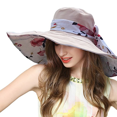 le Floppy Reversible Wide Brim Sun Beach Hat with Bowknot UPF 50+ (Beige) (Womens Reversible Sun Hat)