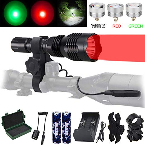 VASTFIRE Predator Light with Interchangeable (Red, Green, White) LED Hunting Flashlight with Scope Mount for AR Hog Coyote Coon Bobcat Raccoon Varmint Rabbit Night Hunting
