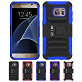 Galaxy S7 Case, HLCT Rugged Shock Proof Dual-Layer PC and Soft Silicone Case With Built-In Stand Kickstand for Samsung Galaxy S7 (2016) (Blue)