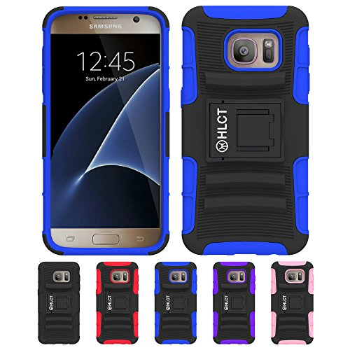 Price comparison product image Galaxy S7 Case, HLCT Rugged Shock Proof Dual-Layer PC and Soft Silicone Case With Built-In Stand Kickstand for Samsung Galaxy S7 (2016) (Blue)