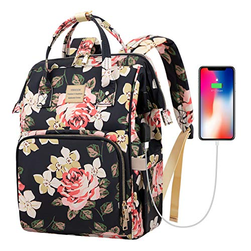 Laptop Backpack,15.6 Inch Stylish College School Backpack with USB Charging Port,Water Resistant Casual Daypack Laptop…