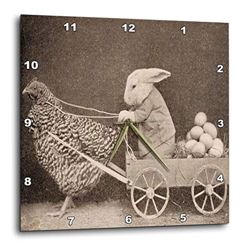 3dRose dpp_37253_1 Victorian Photo Rooster Pulling Bunny-Wall Clock, 10 by 10-Inch
