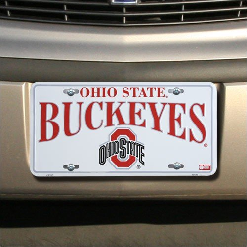 Ohio State Buckeyes White Metal License - Ohio Supplies Office State
