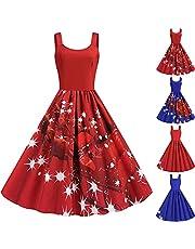 DonLeeving Women Christmas Dresses U Neck Print Vintage A Line Xmas Rockabilly Dress Santa Claus Snowman Tree Elk