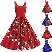 DonLeeving Women Christmas Dresses U Neck Print Vintage A Line Xmas Rockabilly Dress Santa Claus Snowman Tree