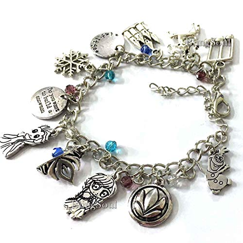 Frozen Charm Bracelet Jewelry - Anna Elsa Cosplay Costume Bracelets Merchandise Gift For Women -