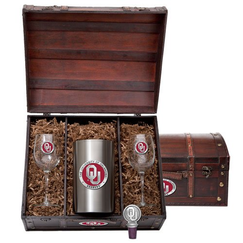 Oklahoma Sooners Team Logo Wine Gift Set