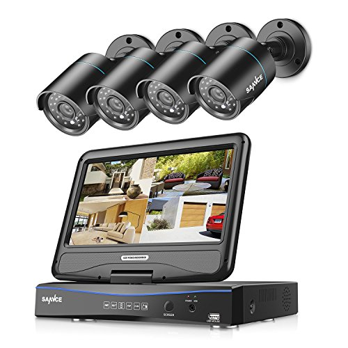 """SANNCE 4CH All-in-One 720P DVR with 10"""" LCD Monitor Security Camera System with 4 Weatherproof Indoor Outdoor Day Night Vision Video Surveillance Camera Plug and Play (No HDD)"""