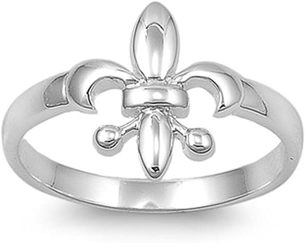 Vintage Style 925 Sterling Silver Diamond Fleur de Lis Broad Band Ring Size M.