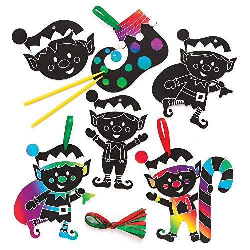 Baker Ross Christmas Elf Scratch Art Decorations (Pack of 10) for Kids Christmas Crafts and Decorations ()
