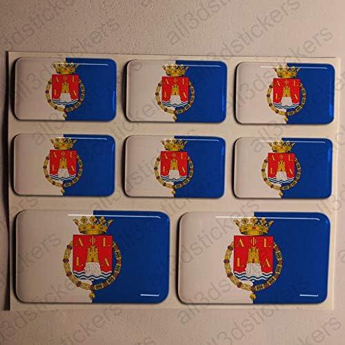 Pegatinas Alicante España Resina, 8 x Pegatinas Relieve 3D Bandera Alicante España Adhesivo Vinilo: Amazon.es: Coche y moto