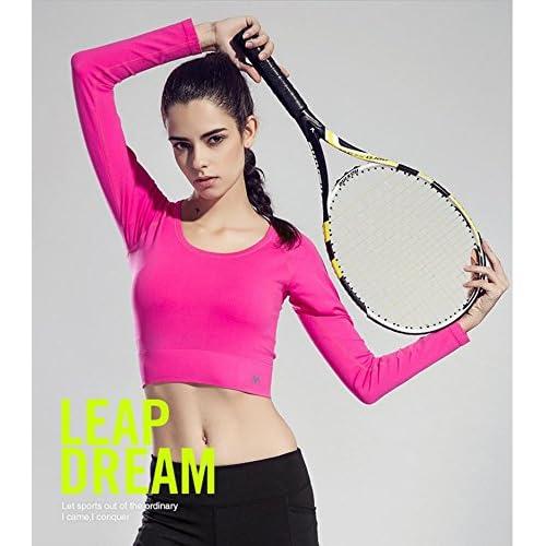 Erica D¨¦bardeurs sport pour femmes manches longues col rond s¨¦chage rapide Yoga Fitness T-shirt couleur unie