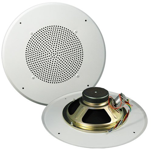 C1070 8-Inch 70V Commercial Audio 5W 2.5W 1W .5W .25W Transformer Tap Ceiling Speaker 12-Inch Grill - OSD Audio - (Single, White)