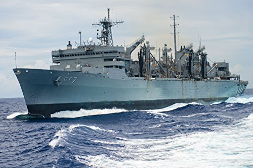 LAMINATED POSTER The fast combat support ship USNS Rainier (T-AOE 7) after the guided-missile destroyer USS Stockdale Fast Combat Support Ships