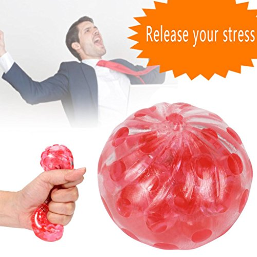 Slow Rising Squishies Jumbo,Todaies 2018 Clearance New Spongy Bead Stress Ball Toy Squeezable Stress Squishy Toy Stress Relief Ball (Red)
