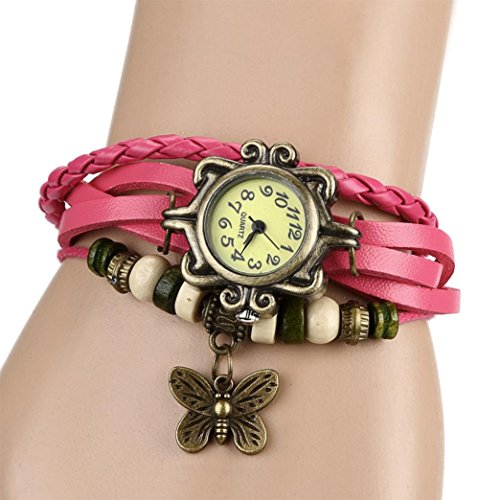 Charberry Quartz Fashion Weave Around Leather Bracelet Lady Woman Wrist Watch (Pink)