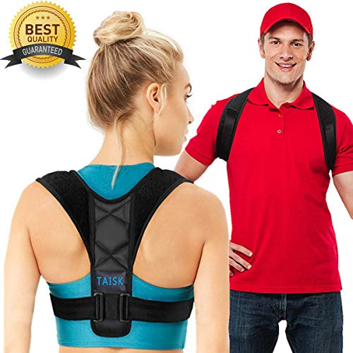 【2019 New Version】Taisk Posture Corrector for Men and Women- Comfortable Upper Back Brace for Clavicle Support Thoracic Kyphosis and Shoulder - Neck Pain Relief (Universal Size FDA Approved) ()