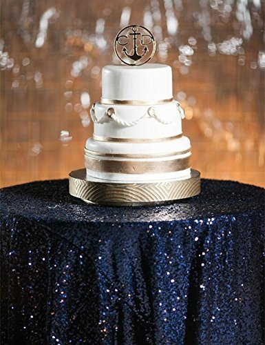 ShinyBeauty 72in Round Navy Blue Sequin Tablecloth/Wedding Beautiful Sequin Table Cloth / Overlay /Cover (Beautiful Tablecloths Round)
