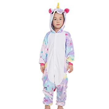 Colorfulworld Flanela Unicornio Pijamas Cartoon Animal Novedad Navidad Pijama Cosplay Pijamas (125-134cm,
