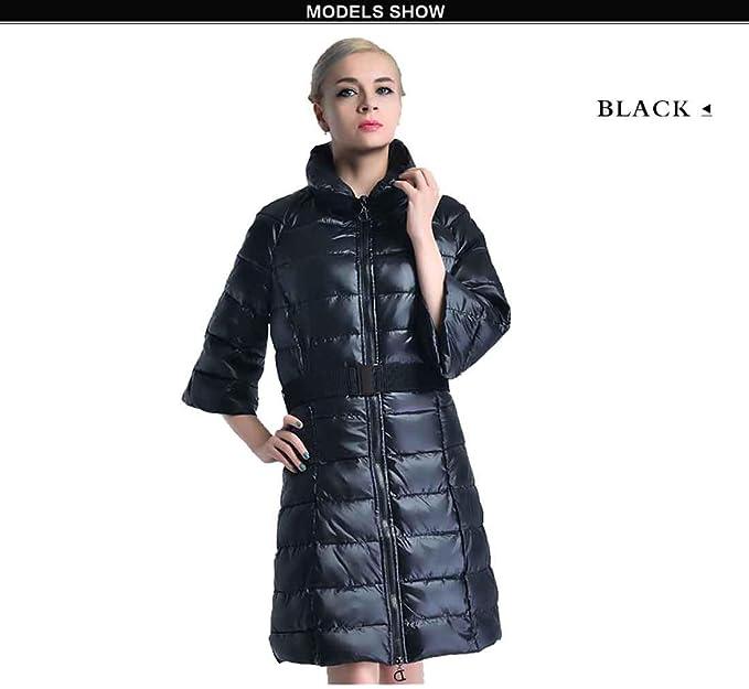 Moda Invierno Chaquetas de las mujeres Ropa Parkas Abrigo cálido Abrigo largo de algodón delgado Chaqueta Casual, negro, m: Amazon.es: Ropa y accesorios