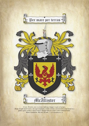A4 Surname Coat of Arms Printed on Parchment (Family Crest)