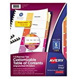Avery 11152 Ready Index Customizable Table of Contents, Unpunched, 5-Tab, Letter, 5 Sets