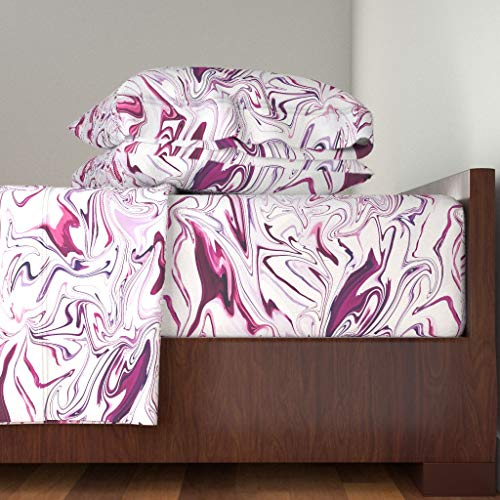 Roostery Magenta Fabric 3pc Sheet Set Magenta Burgandy Marble Fabric Marble Magenta Cranberry by Jenlats 100% Cotton Sateen Twin Sheet ()