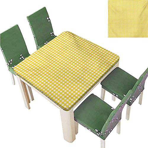 Damask Jacquard Tablecloth,Classic English Pattern in Yellow Picnic in Summertime Theme Retro Striped Waterproof Spillproof Tablecloth,51.5W x 51.5L Inches(Elastic ()