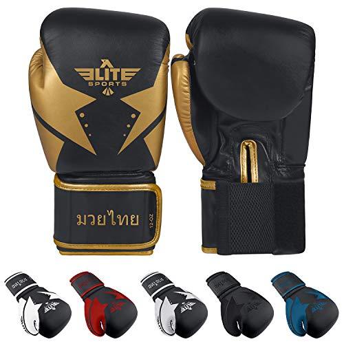 Elite Sports Muay Thai Star Gloves (Golden, 10 oz)
