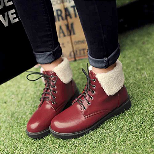 Up Lace Round Boots Easemax Red Women's Low Toe Trendy Stitching Heel wU8SU0gq