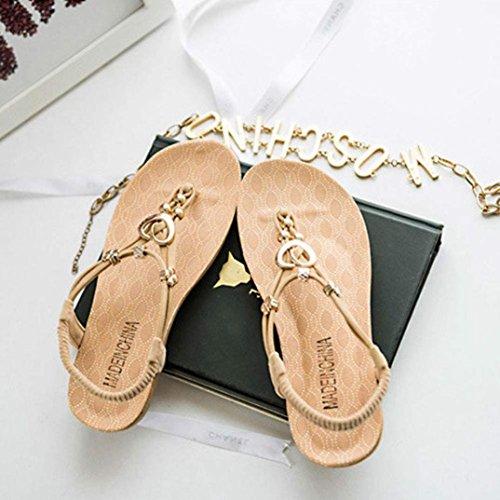 Sandalias Summer De Inkach® Para Mujer Sandalias Con Diseño Sweet Bohemia De Verano Sandalias Con Punta De Clip Zapatos De Playa Beige