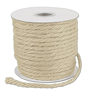 "Ribbons Solid Color - Ivory Burlap Jute Rope Twine, 1/8"" x 25 Yds (1 Roll) - BOWS-TWINE-01"