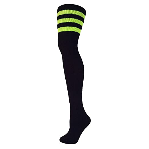 e92b89b77 Amazon.com  AJs Retro Thigh High Tube Socks - Black