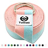 Tumaz Yoga Strap/Stretch Bands with Adjustable D-Ring Buckle (6ft/8ft/10ft, Many Stylish Colors) – Best for Daily Stretching, Yoga, Pilates, Physical Therapy, Fitness