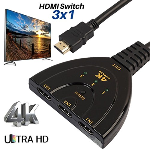 3Port HDMI Switch Splitter Cable,UMFun 4K2K 2160P Multi Switcher HUB LCD HDTV PS Xbox