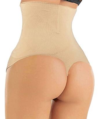 a272355e3d9 FLORATA Women Waist Cincher Girdle Tummy Control Thong Panty Slimmer Body  Shaper Beige