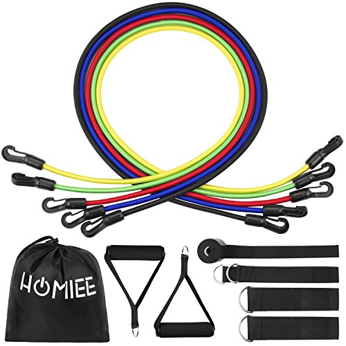 Cheap HOMIEE Resistance Band Set, Workout Exercise Set Including Elastic Tube Bands, Cushioned Handles, Ankle Straps, Door Anchor and Carrying Bag for Resistance Training, Physical Therapy and Home Workout