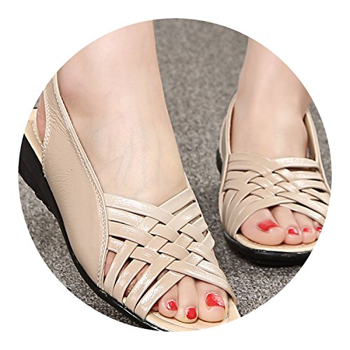 Genuine Buckle Gladiator Tied Flat New Sole Shoes Leather Toe Beige Soft Strap Cross Peep Loft qaZwSt