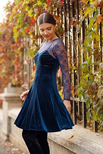 in donna lunghe a da maniche Alisapan Blue velluto Abito Sapphire As05898 dIa10xd
