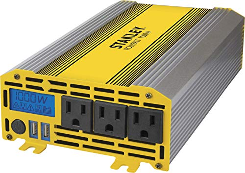 STANLEY PI1000S POWERiT Power Inverter 1000W Car Converter: Triple AC Outlets, Dual 3.1A USB Ports, 12V DC Adapter