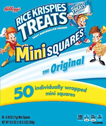 ispies Treats Crispy Marshmallow Mini-Squares, Original, Single Serve, Display Box Caddy, 0.39 oz Bars(50 Count) ()